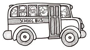 School Bus Children Black and White Stock Photos