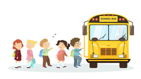 School bus and children. Cartoon character on white background Royalty Free Stock Image