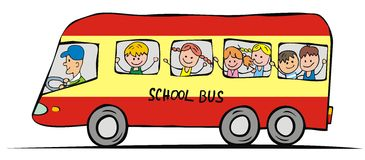 School bus and children Royalty Free Stock Image