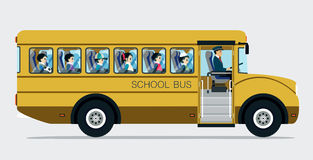 School bus. With children on a gray background Royalty Free Stock Photos
