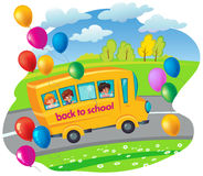 School bus with children moving in the road. flying balloons. ve Royalty Free Stock Photos
