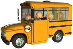 School Bus Children Student Isolated Royalty Free Stock Images