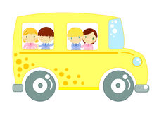 School bus with children on white background Stock Photos