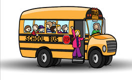 School bus with children on a white background Stock Photography