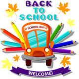 School bus with colored pencils , the inscription back to school and welcome Stock Image