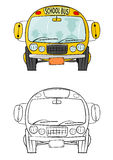 School bus. Coloring book with school bus. Illustration on a white background which you can easily add to your design. Vector Stock Images