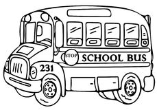 School bus coloring pages Royalty Free Stock Image