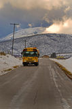 School bus in the country stock photo