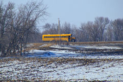 A School Bus on a Country Road Stock Images
