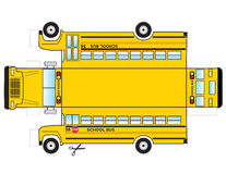 School Bus Cutout. This is a school bus that can be cut out and glued/taped to become a 3 dimensional object toy for kids Stock Image