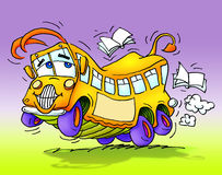 School bus dancing happy, books around. Yellow school bus dancing happy with books flying around. Freehand drawing scanned and colored on computer royalty free illustration