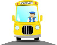 School bus driver in a yellow school bus. A school bus driver in a yellow school bus Royalty Free Stock Photo