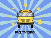 School bus front view vector illustration. Back to school. stock illustration