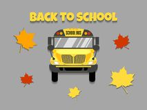 School bus front view vector illustration. Back to school. stock illustration
