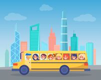 School Bus Full of Children Drives Through City. School bus full of children drives through big industrial city. Yellow school bus comes by high skyscrapers in stock illustration