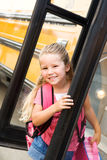 School Bus: Girl Doesn't Want To Go To School Royalty Free Stock Images