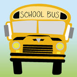 School bus. On green and blue background Royalty Free Stock Images