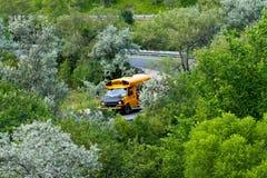 School bus in green. School bus on a highway off-ramp in summertime Stock Image