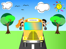 School bus with happy children back to school Royalty Free Stock Image