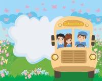 School bus with happy children Royalty Free Stock Photo