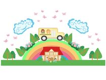 School bus with happy children - card Royalty Free Stock Photo
