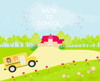 school bus heading to school with  children Royalty Free Stock Photography