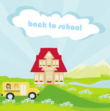 school bus heading to school with happy childr Stock Images