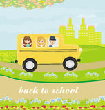 school bus heading to school with happy childr Royalty Free Stock Images