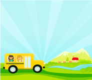 A school bus heading to school with happy children Royalty Free Stock Photos