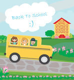School bus heading to school with happy children Stock Images