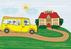 School bus heading to school Royalty Free Stock Images