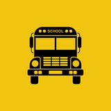 School bus icon. Black silhouette on yellow background. Can used as a road sign, for web design, print. Pictogram transport. Vector illustration flat design Stock Photography