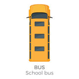 School Bus Icon Top View Flat Vector Illustration. School bus top view icon. Classic yellow bus roof view with text flat vector isolated on white background Royalty Free Stock Image