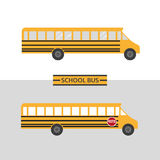 School bus icon. Traditional yellow transporting vehicle symbol for transportation of children to school in flat style. Emblem of passenger auto to transport Stock Images