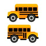 School Bus Icons in Flat Vector Style Stock Photography