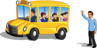 School bus. Illustration of bright yellow school bus with a father waving goodbye to pupils and pupils waving back, white background stock photography