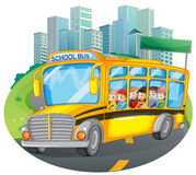School bus. Illustration of children of a school bus Royalty Free Stock Image