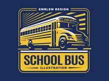 School bus illustration on light background, emblem Stock Images