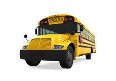 School Bus. Isolated on white background. 3D render Stock Image
