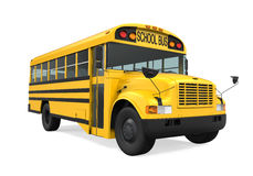 School Bus Isolated. On white background. 3D render Royalty Free Stock Images