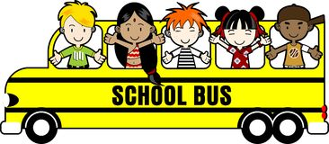 School Bus with Kids Stock Image