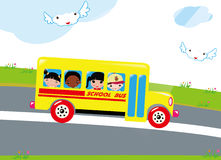 School bus and kids Royalty Free Stock Photo