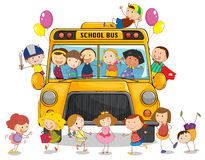 School bus and kids. Illustration of a school bus and kids on a white Royalty Free Stock Image