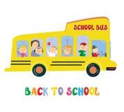 School bus with kids cartoon Stock Images