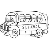 School bus kids coloring pages. On this picture you can see kids artistic drawing Taxi car. Very high hand drawing illustration.   You can use this picture for Royalty Free Stock Image