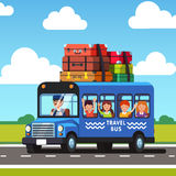 School bus with kids and lots of books luggage Stock Photo