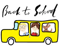 School bus. Kids riding on school bus. Handwritten lettering inspiration Stock Photo