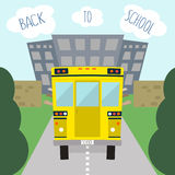 School bus. Kids riding on school bus. Vector illustration.  Royalty Free Stock Photos