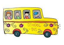 School bus with kids. White background Stock Photo