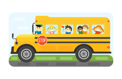 School bus kids transport vector illustration. Stock Photography